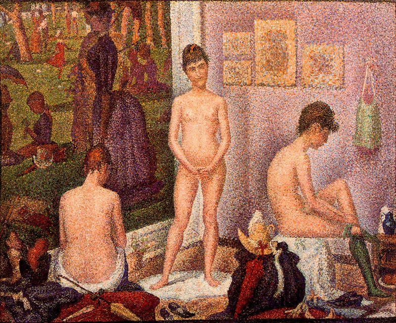 The Models, Oil by Georges Pierre Seurat (1859-1891, France)