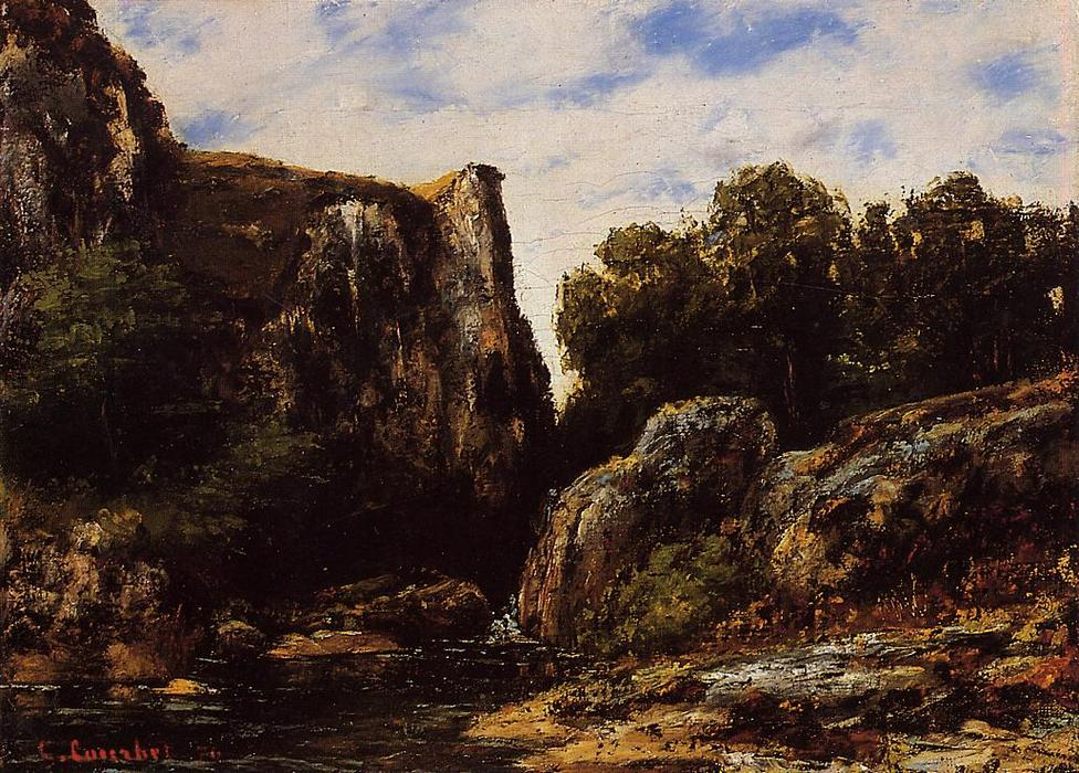 A Waterfall in the Jura, 1876 by Gustave Courbet (1819-1877, France) | Museum Quality Reproductions | WahooArt.com