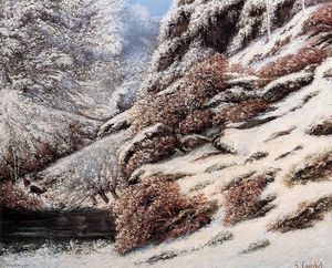 Gustave Courbet - Deer in a Snowy Landscape