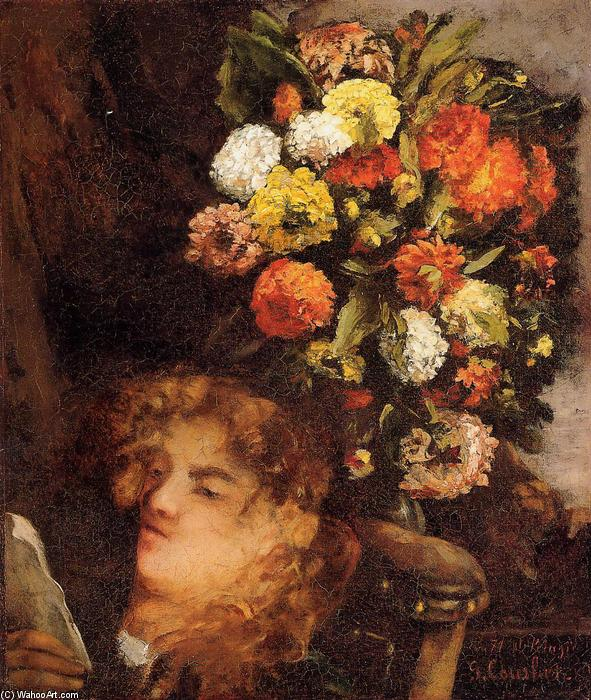 Head of a Woman with Flowers, 1871 by Gustave Courbet (1819-1877, France) | Paintings Reproductions Gustave Courbet | WahooArt.com