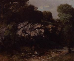 Gustave Courbet - Rocky Landscape with Figure
