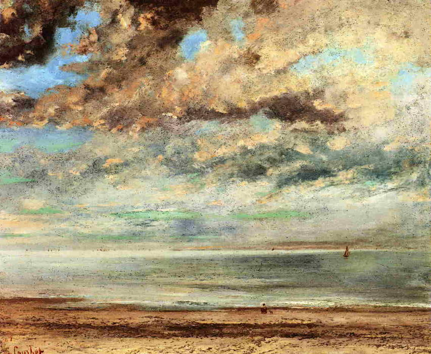 The Beach, Sunset, 1867 by Gustave Courbet (1819-1877, France) | Art Reproductions Gustave Courbet | WahooArt.com