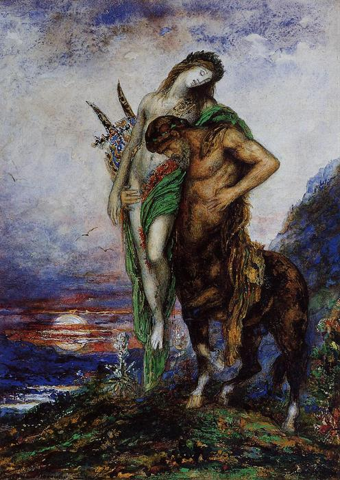 A Dead Poet being Carried by a Centaur, Oil by Gustave Moreau (1826-1898, France)