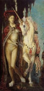 The Unicorn, Oil On Canvas by Gustave Moreau  (order Fine Art painting copy Gustave Moreau)