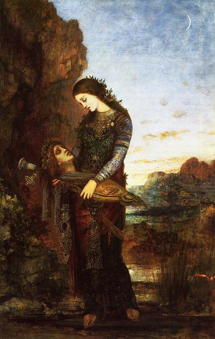 Young Thracian Woman Carrying the Head of Orpheus, Oil On Panel by Gustave Moreau (1826-1898, France)
