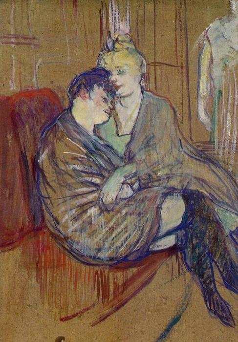 The Two Girlfriends 1, Oil by Henri De Toulouse Lautrec (1864-1901, France)