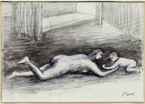 Henry Moore - Mother Playing With Child On Floor I