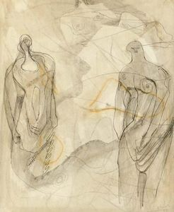 Henry Moore - One reclining and two standing figures