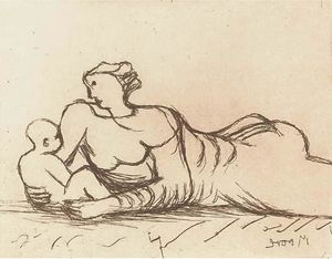 Henry Moore - Plate 6, from Mother and Child