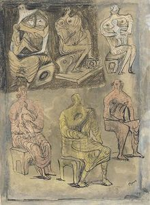 Henry Moore - Six seated Women, four holding Children