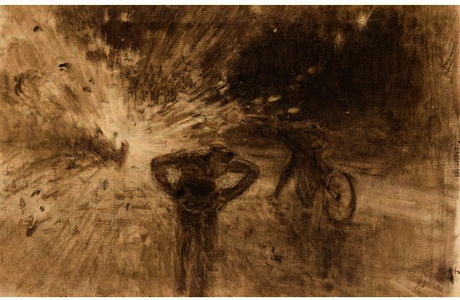 Monochrome Sketch Of The Terrorist Attack In 1916 On King Albert I Of Belgium, Drawing by Ilya Yefimovich Repin (1844-1930, Russia)