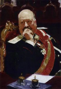 Ilya Yefimovich Repin - Portrait of Vice Minister of the Interior, cavalry general and member of State Council, Count Aleksey Pavlovich Ignatiev (Study)
