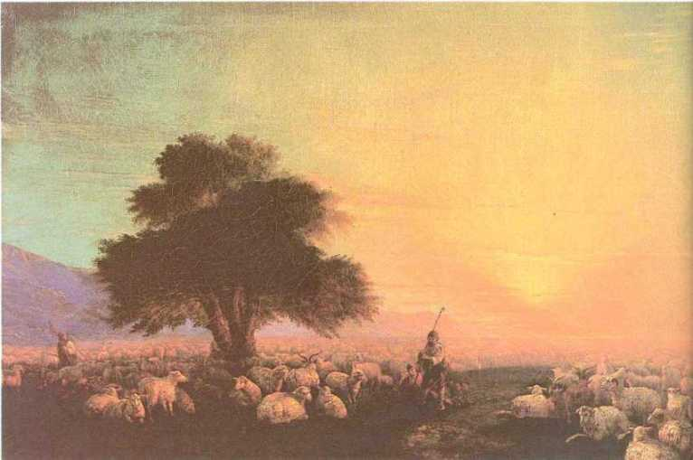 Flock of sheep with herdsmen, sunset by Ivan Aivazovsky (1817-1900, Russia) | Art Reproductions Ivan Aivazovsky | WahooArt.com