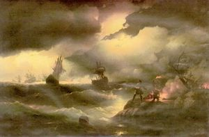 Ivan Aivazovsky - Peter the First to light out a watch fire
