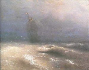 Ivan Aivazovsky - Tempest by coast of Nice