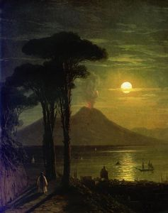 Ivan Aivazovsky - The Bay of Naples at moonlit night. Vesuvius