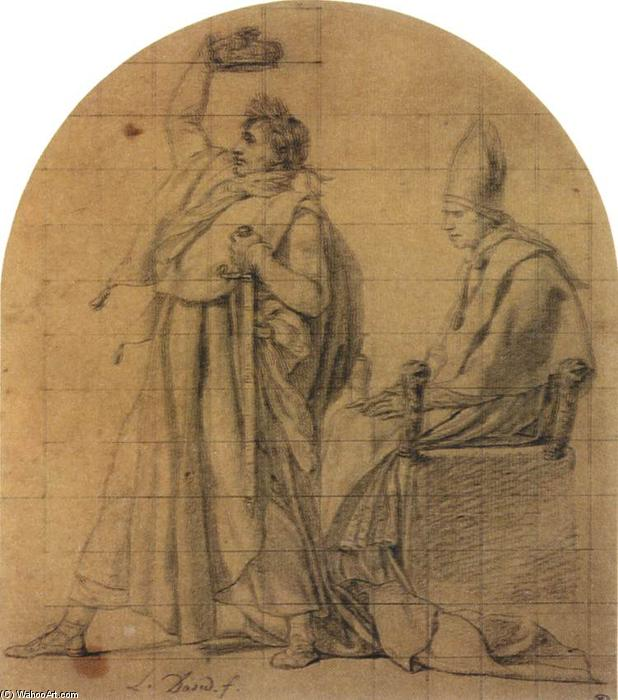 Napoleon Holding Josephine's Crown, Crayon by Jacques Louis David (1748-1800, France)