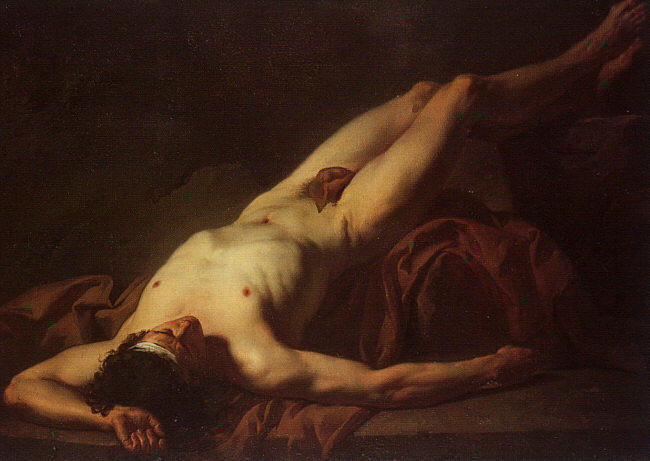 Nude Study of Hector by Jacques Louis David (1748-1800, France) | Oil Painting | WahooArt.com