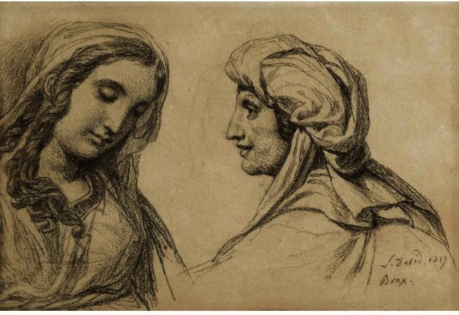 Studies Of Two Women, Oil by Jacques Louis David (1748-1800, France)