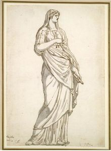 Jacques Louis David - Study of the Sabine Statue from the Villa Medici
