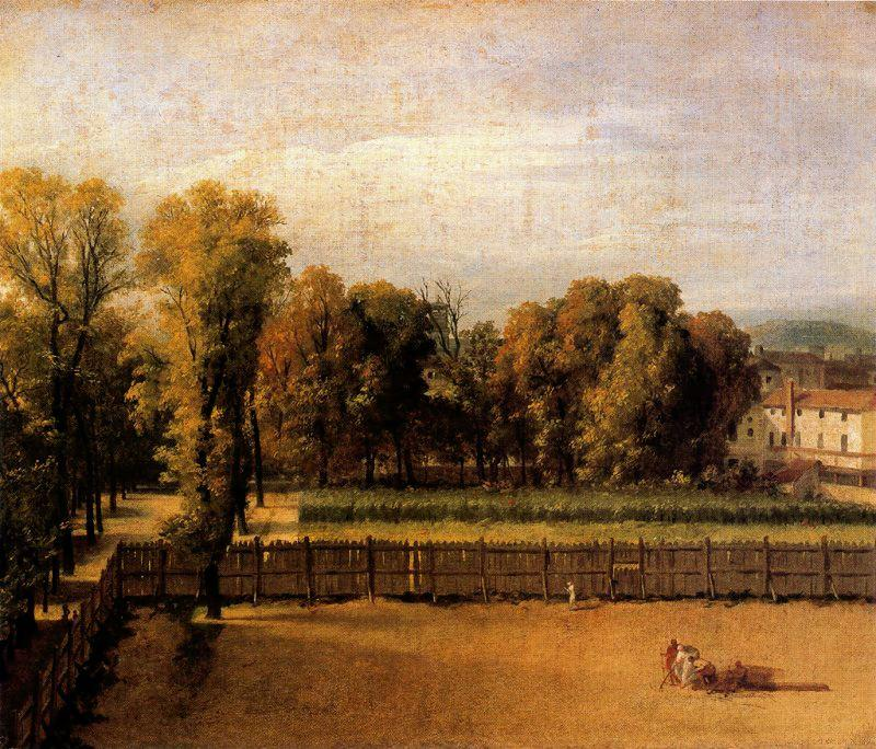 Vista del Jardín del Palacio de Luxemburgo, Oil by Jacques Louis David (1748-1800, France)