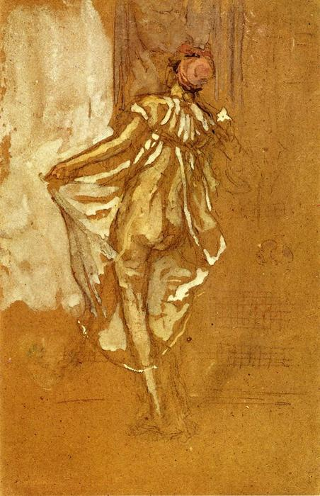 A Dancing Woman in a Pink Robe, Seen from the Back, Oil by James Abbott Mcneill Whistler (1834-1903, United States)