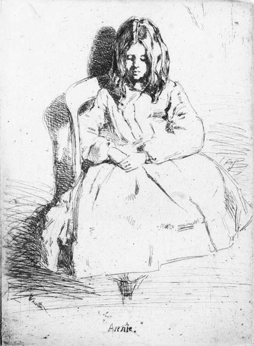 Annie Seated, Oil by James Abbott Mcneill Whistler (1834-1903, United States)