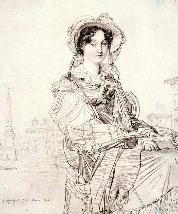Mrs Charles Badham, Pencil by Jean Auguste Dominique Ingres (1780-1867, France)
