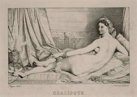 Odalisque 1, Oil by Jean Auguste Dominique Ingres (1780-1867, France)