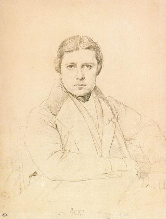 Self-portrait 3, Drawing by Jean Auguste Dominique Ingres (1780-1867, France)