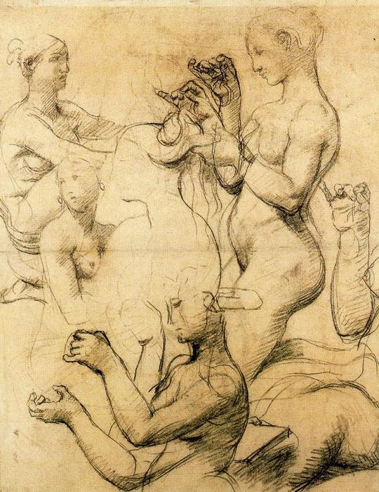 Sketch for The Turkish Bath 1, Drawing by Jean Auguste Dominique Ingres (1780-1867, France)