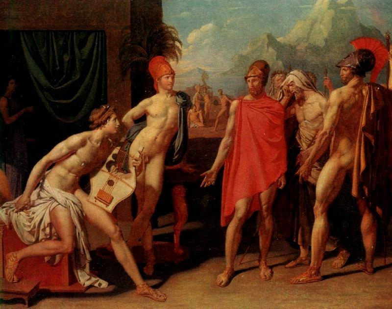 The Ambassadors of Agamemnon in the Tent of Achilles, Oil by Jean Auguste Dominique Ingres (1780-1867, France)