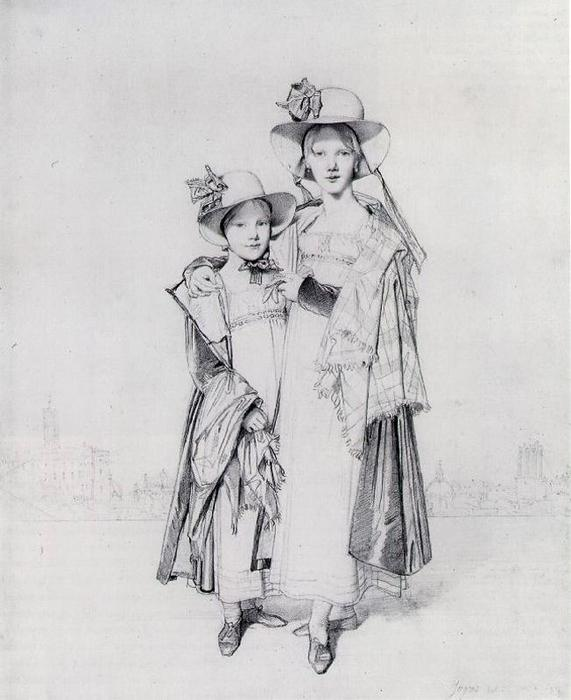 The Misses Montagu, Drawing by Jean Auguste Dominique Ingres (1780-1867, France)