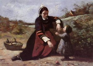 Jean Baptiste Camille Corot - Breton Woman With Her Little Girl
