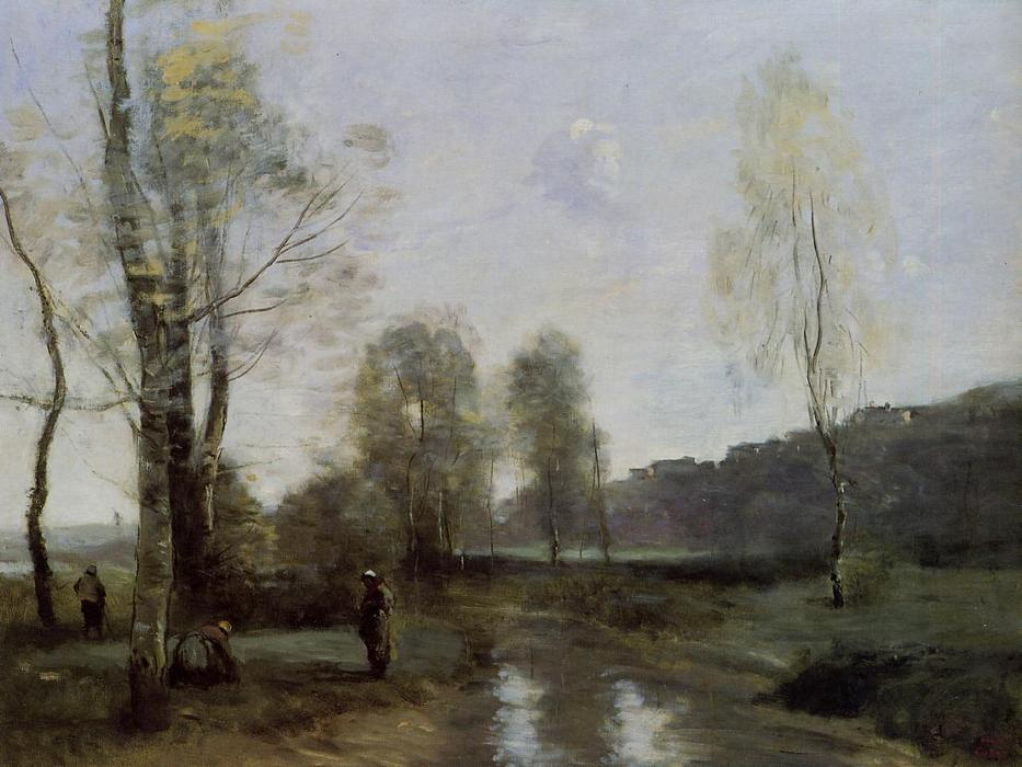 Canal in Picardi, Oil by Jean Baptiste Camille Corot (1796-1875, France)