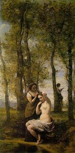 Jean Baptiste Camille Corot - Le Toilette (aka Landscape with Figures)