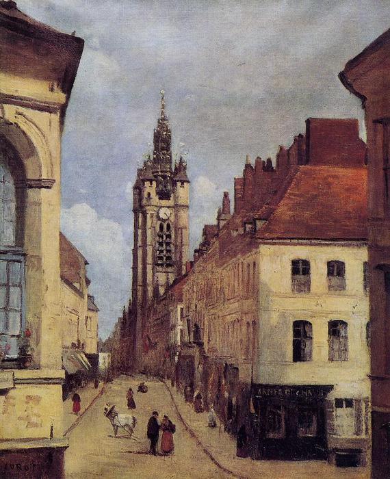 The Belfry of Douai, Oil by Jean Baptiste Camille Corot (1796-1875, France)