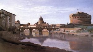 Jean Baptiste Camille Corot - View of St. Peter-s and the Castel Sant-Angelo