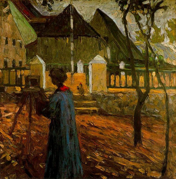 Gabriele Münter painting in Kallmunz, Oil by Wassily Kandinsky (1866-1944, Russian Empire)