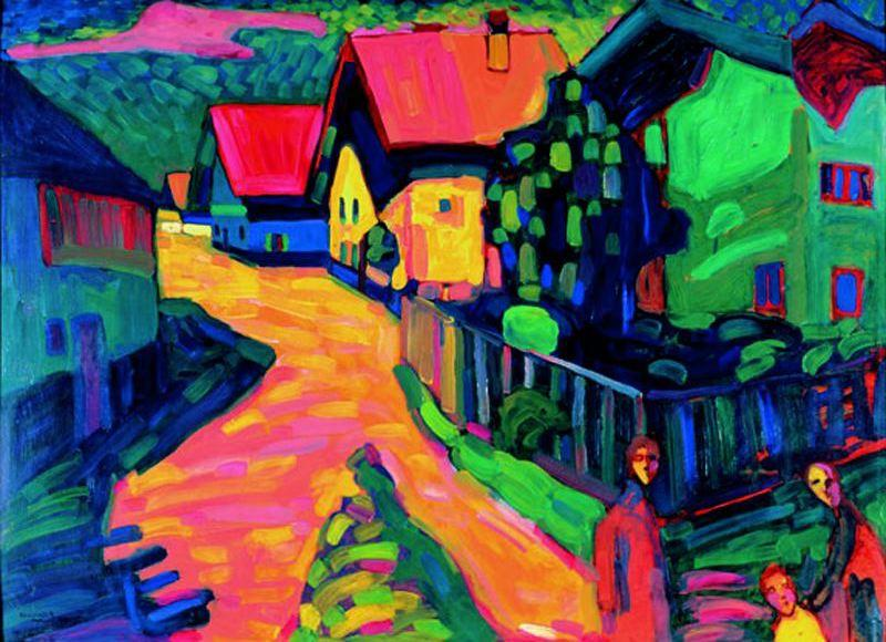 Street in Murnau with Women, Drawing by Wassily Kandinsky (1866-1944, Russia)