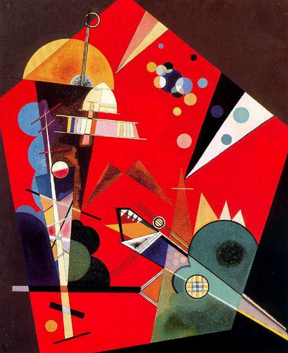 Tension in red, Oil by Wassily Kandinsky (1866-1944, Russia)