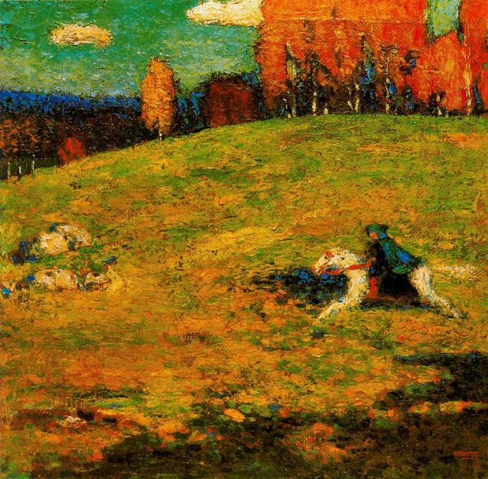 The blue horseman, Oil by Wassily Kandinsky (1866-1944, Russia)