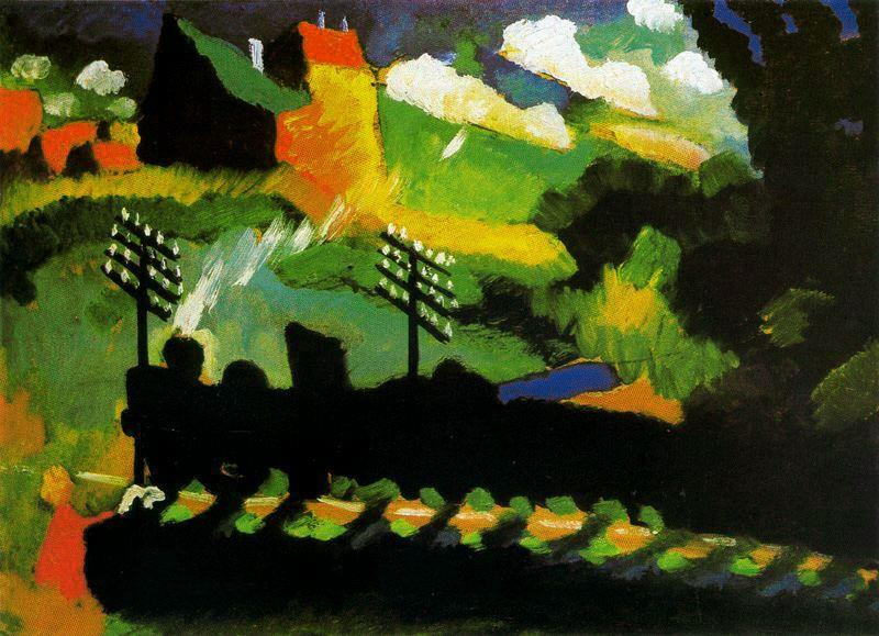 View of Murnau with train and castel, Oil by Wassily Kandinsky (1866-1944, Russia)