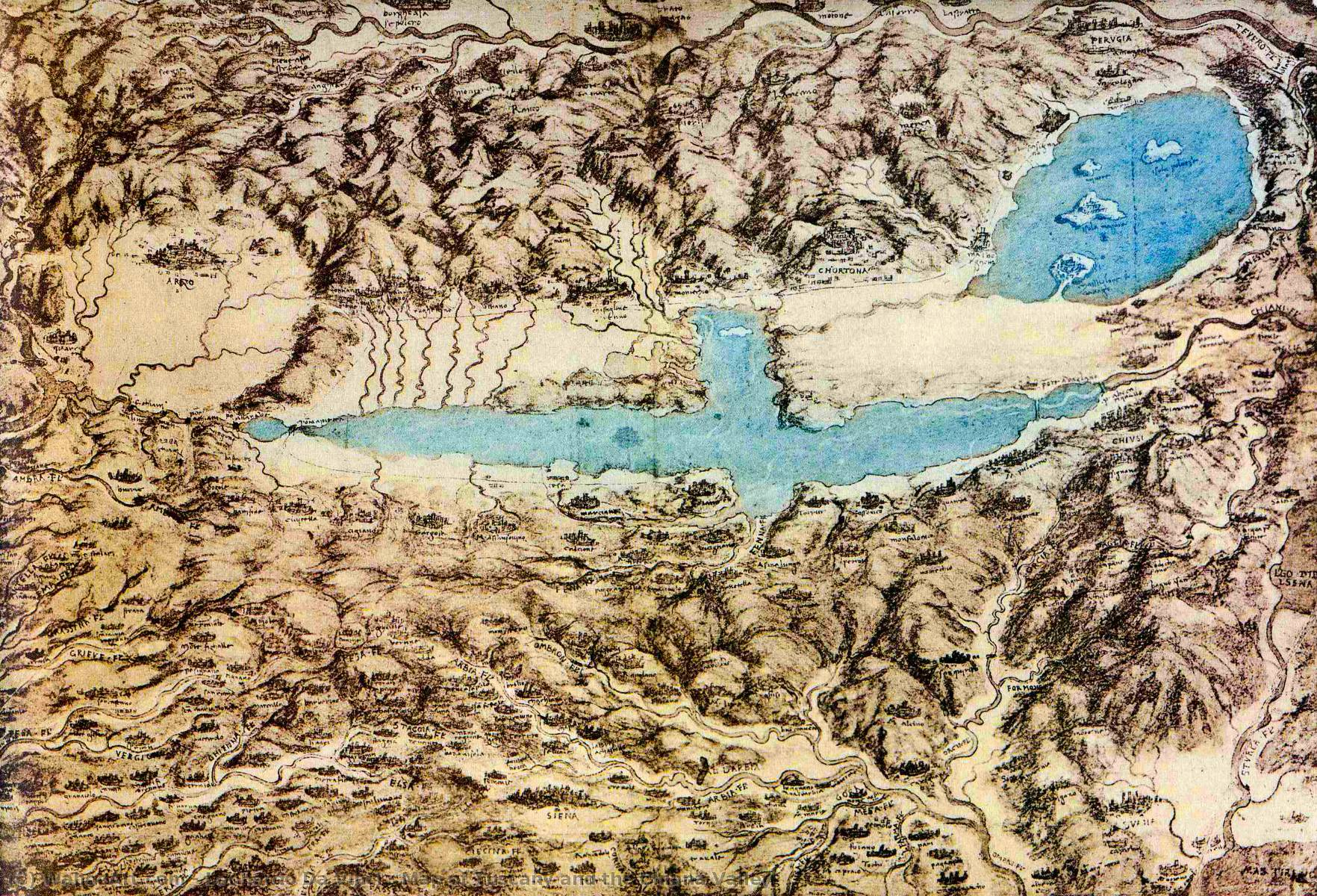 Map of Tuscany and the Chiana Valley, Chalk by Leonardo Da Vinci (1452-1519, Italy)
