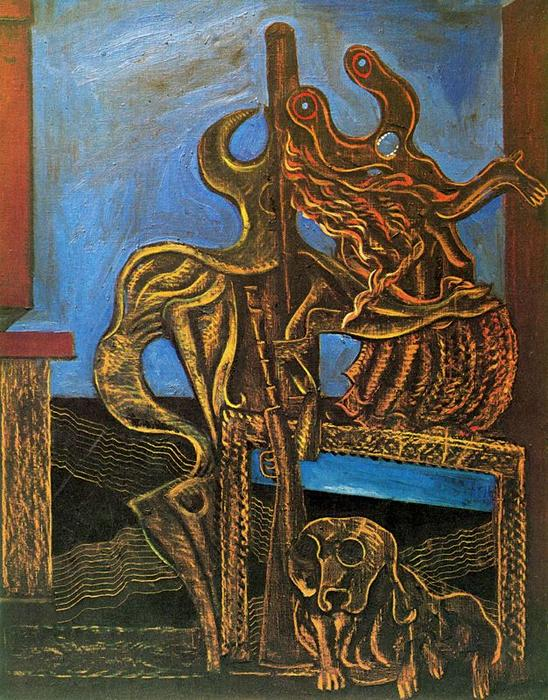 Il cacciatore, Oil by Max Ernst (1891-1976, Germany)