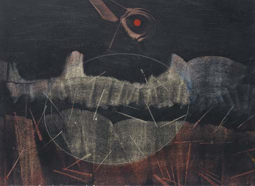 Le mont chauve, Oil by Max Ernst (1891-1976, Germany)