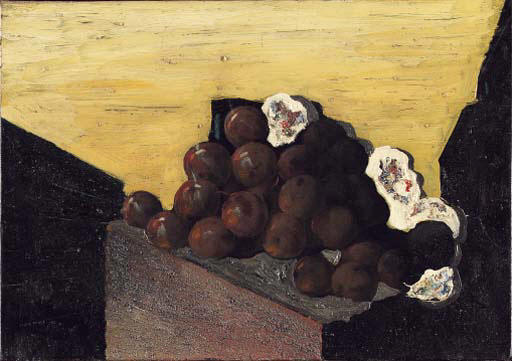 Les prunes, Oil by Max Ernst (1891-1976, Germany)