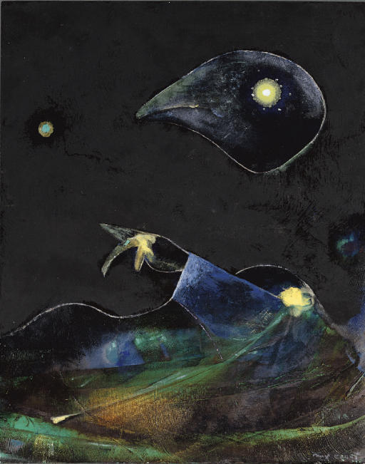 Nocturne, Oil by Max Ernst (1891-1976, Germany)