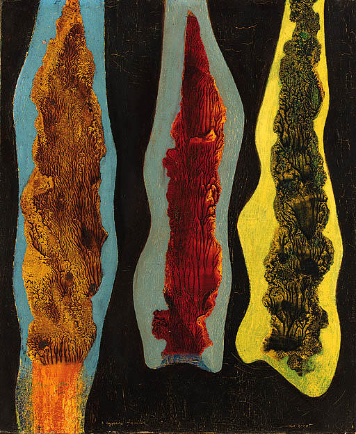 Trois cyprès faciles, Oil by Max Ernst (1891-1976, Germany)