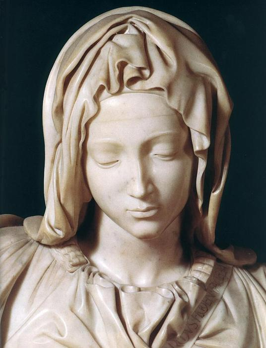 Pieta (detail 1), Oil by Michelangelo Buonarroti (1475 ...